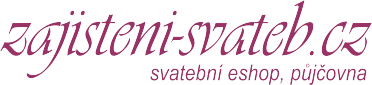 Zajisteni-svateb.cz - svatební eshop, pronájem svatebních potahů na židle, rautové sukně, svatební placky, krabičky, dekorace